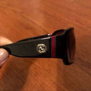 Gucci sunglasses with red and green logo